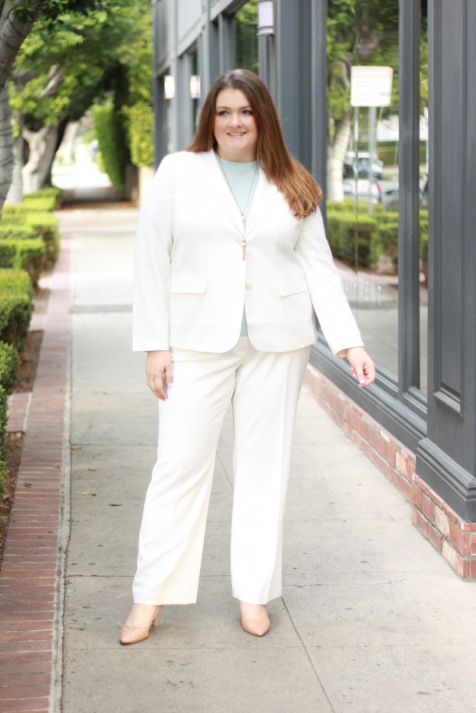 talbots woman italian wool suit off white