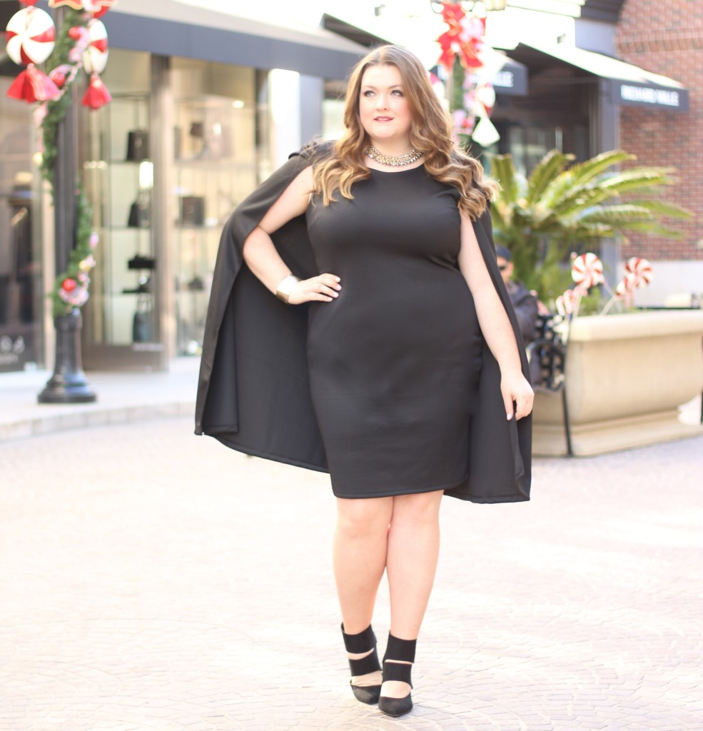 LOVELY IN LA FASHION TO FIGURE HOLLIE CAPE DRESS BLACK PLUS SIZE FASHION