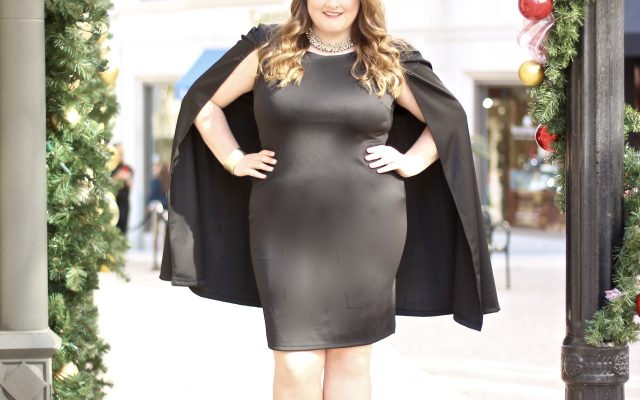 LOVELY IN LA FASHION TO FIGURE CAPE DRESS BLACK PLUS SIZE FASHION