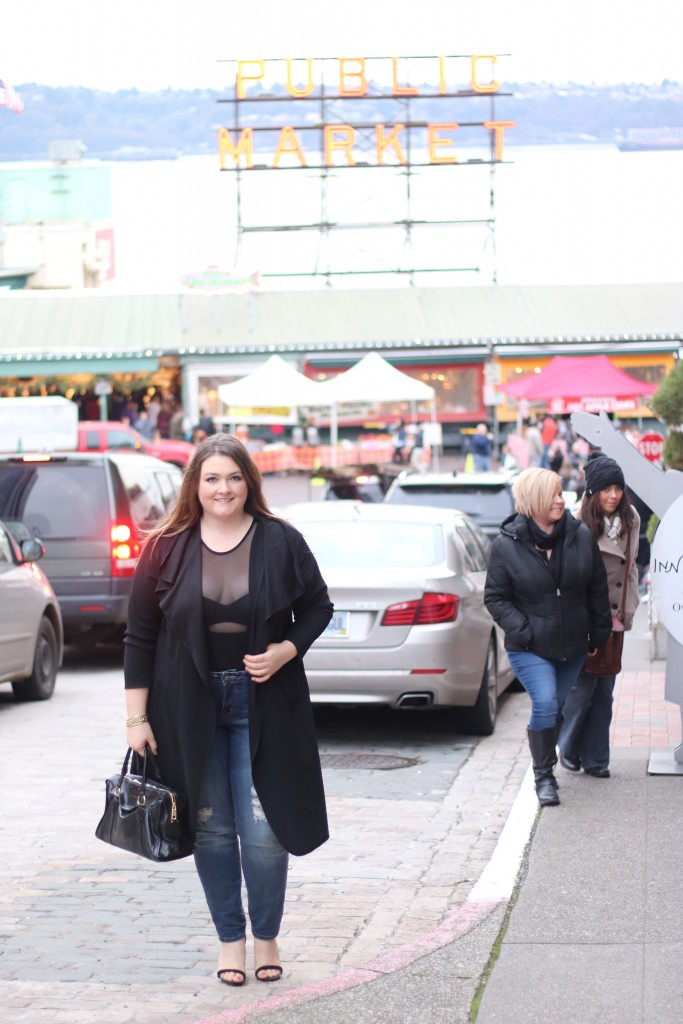 lovely in la seattle pike place market boohoo plus waterfall trench coat black bodysuit downtown seattle