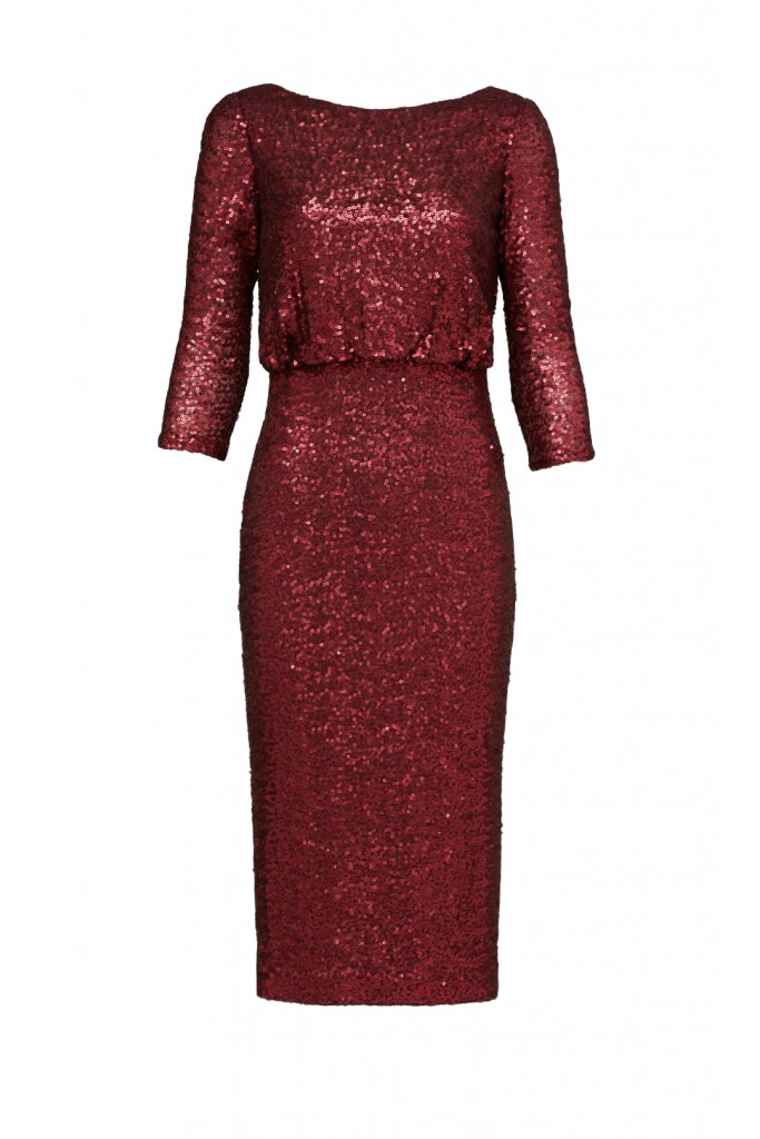 LOVELY IN LA RENT THE RUNWAY BADGLEY MISCHKA SEQUIN WINE COLOR DRESS NEW YEARS EVE