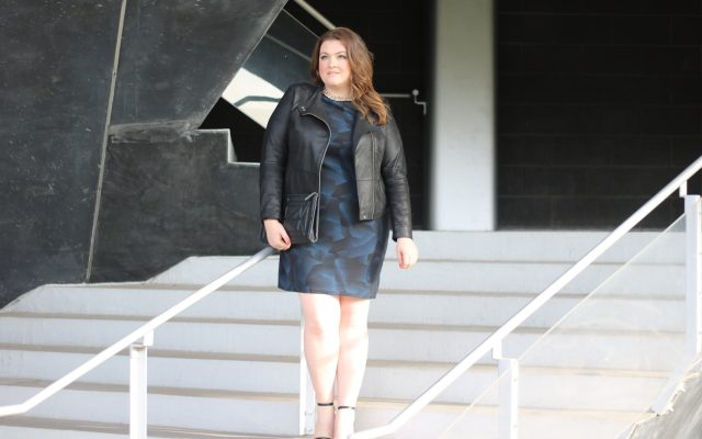 lovely in la girls night out allen schwartz abs dress plus size curvy blogger los angeles sheath lane bryant banana republic