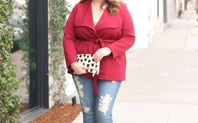 lovely in la gwynnie bee valentines day red coat kiyonna jacket los angeles plus size blogger clare vivier clutch