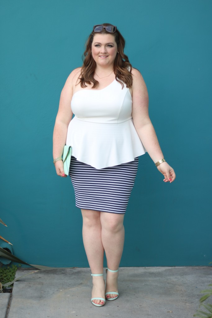lovely in la sanctuary plus size curvy fashion striped skirt one shoulder top peplum los angeles plus size blogger