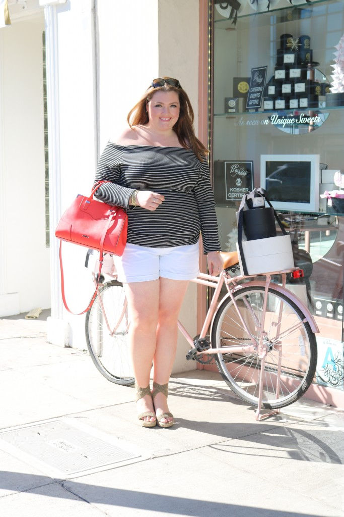 lovely in la plus size blogger lifestyle beverly hills striped off the shoulder top fashion to figure
