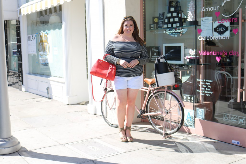 lovely in la horizontal stripes fashion to figure torrid white shorts stuart weitzman wedges nordstom rebecca minkoff plus size blogger curvy
