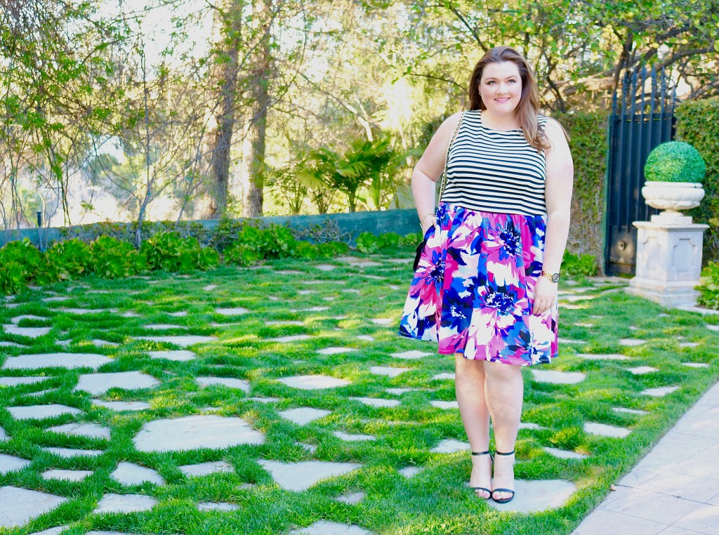 top plus size bloggers lovely in la maggy london dress spring collection stripes floral curvy los angeles pasadena