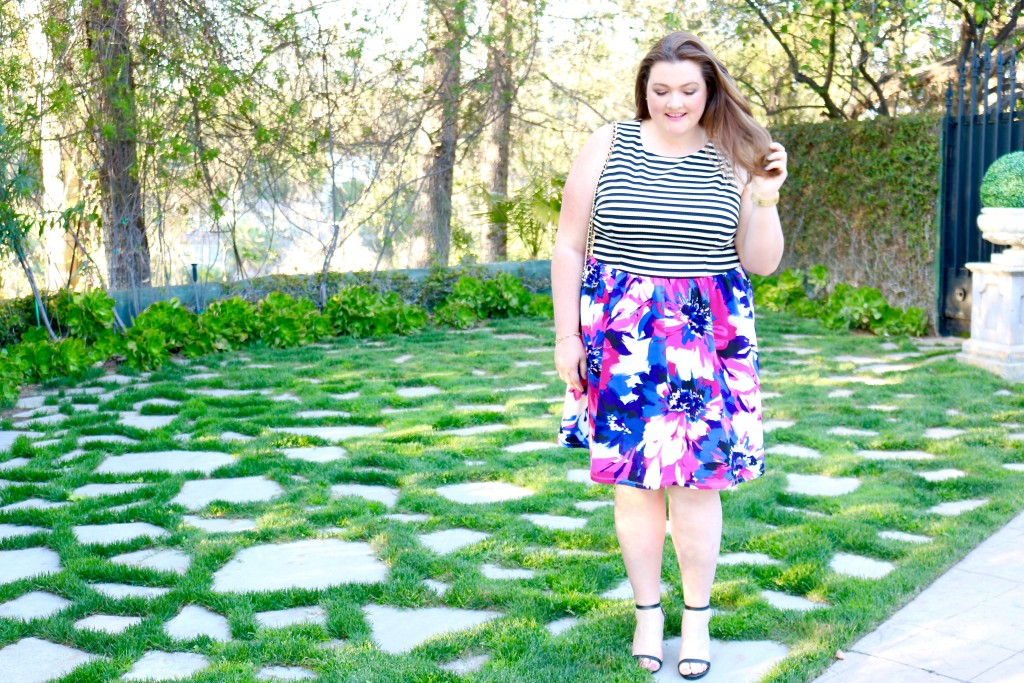 lovely in la maggy london spring collection top plus size blogger los angeles curvy dresses floral stripes