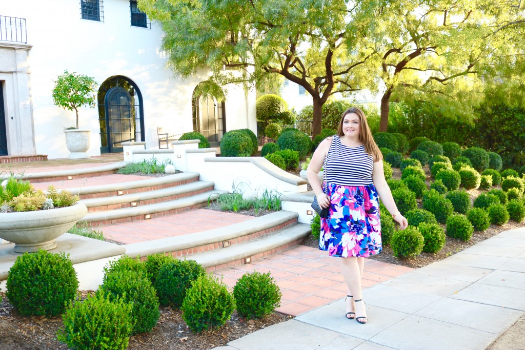 top plus size bloggers lovely in la maggy london dress mixed media floral stripes curvy los angeles pasadena trendy spring