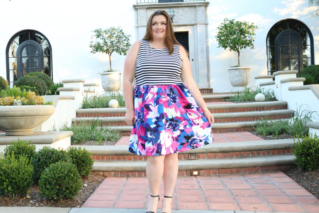 top plus size bloggers you need to know lovely in la maggy london spring collection dresses floral stripe curvy los angeles style pasadena