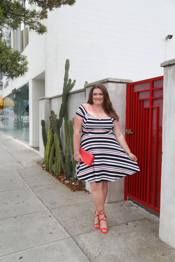 lovely in la off the shoulder dress debshops striped top plus size blogger