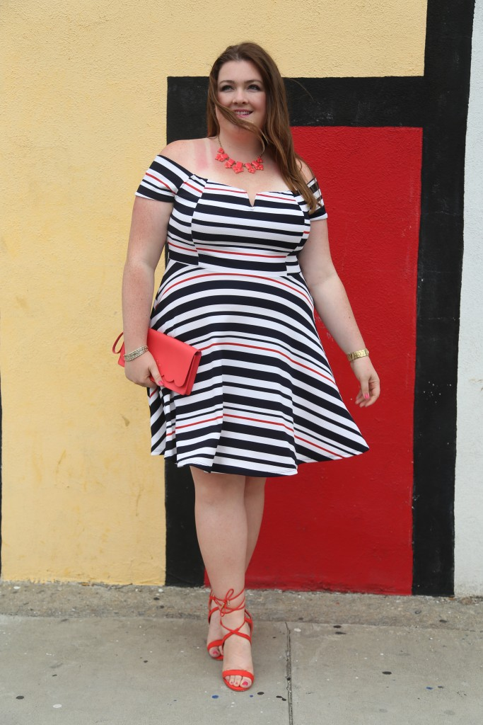 lovely in la debshops striped nautical offshould dress top plus size blogger