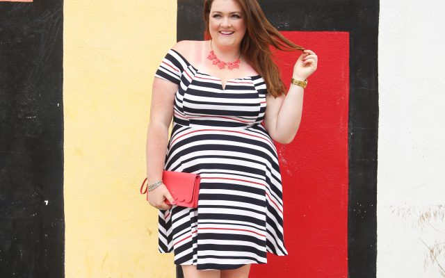 Lovely in LA top plus size blogger los angeles debshops off the shoulder stripes kate spade just fab dress