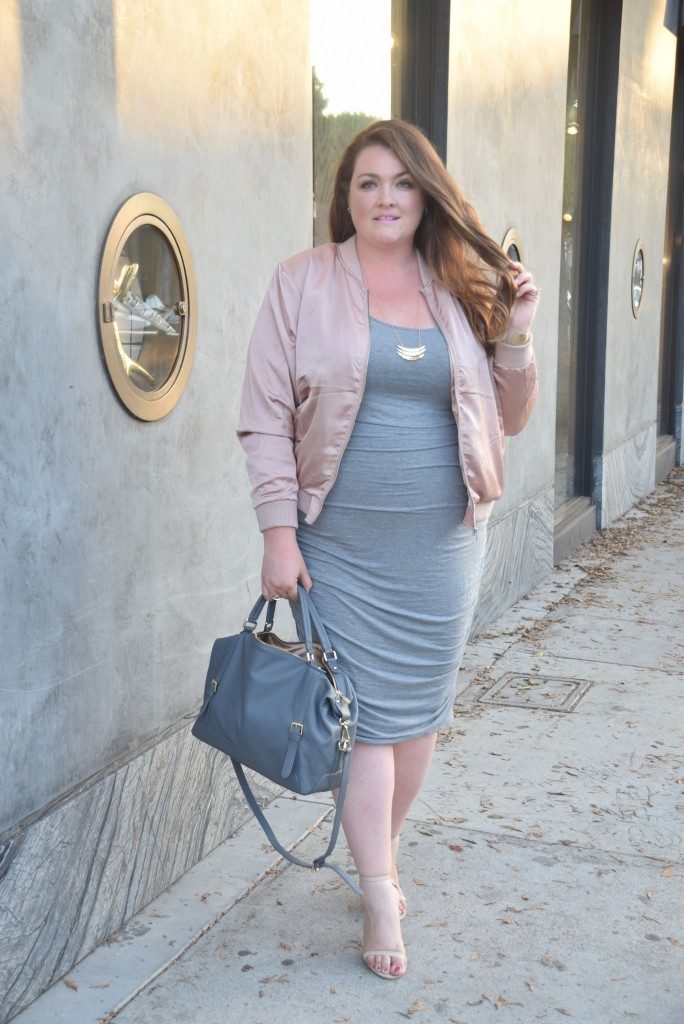 lovely in la torrid ruched gray dress pink wet seal bomber jacket gray ora delphine bag top los angeles blogger