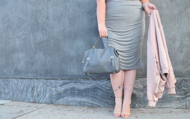 lovely in la ora delphine handbag ruched torrid dress gray los angeles melrose blogger plus size