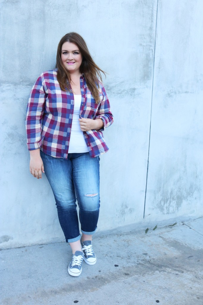 lovely in la maurices fall trends flannel button down top distressed denim