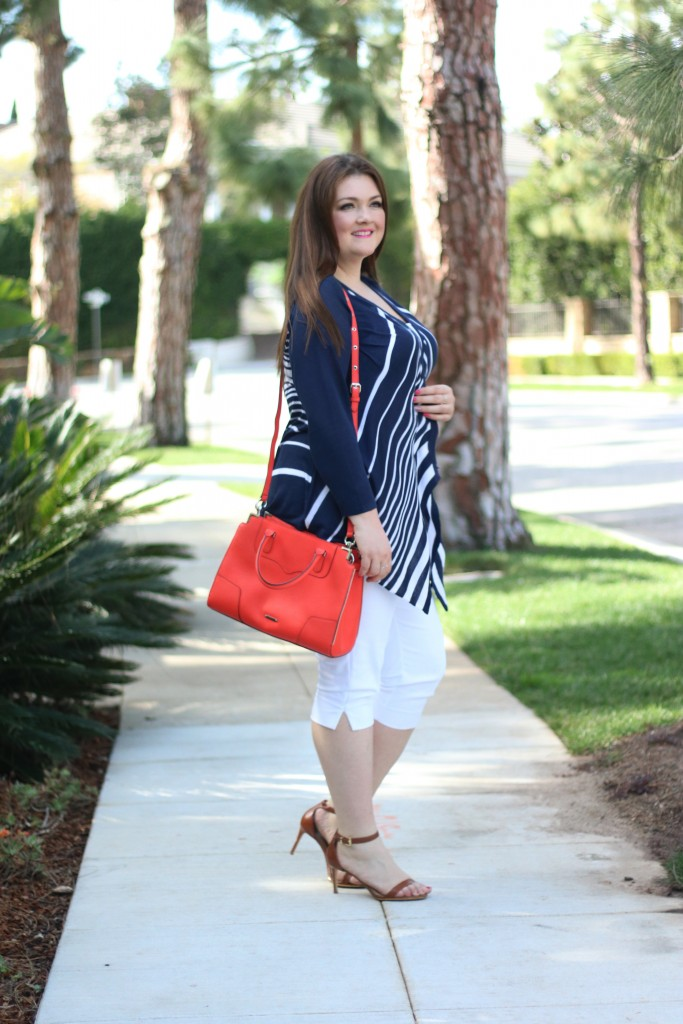 lovely in la catherines layering for spring plus size blogger waterfall cardigan navy nautical