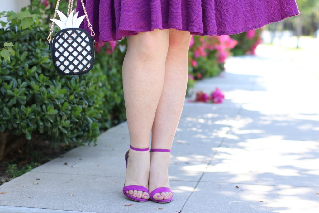 tracy reese gwynnie bee purple scalloped dress lovely in la trendy curvy plus size blogger