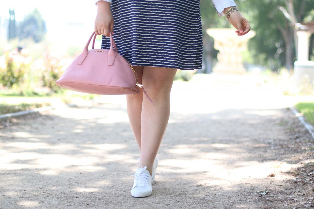 trendy curvy plus size fashion gwynniebee miu miu pink purse rebecca minkoff white tennis shoes