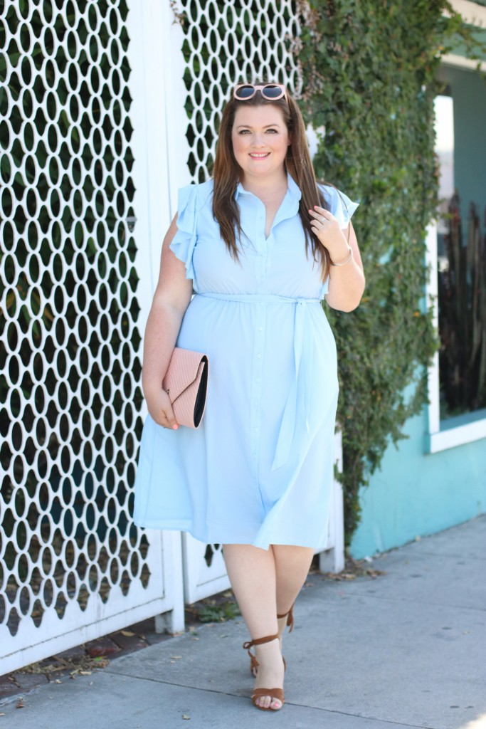 JD Williams Ruffle Shirt Dress Blue Trendy Curvy Lovely in LA Beverly Hills Hotel