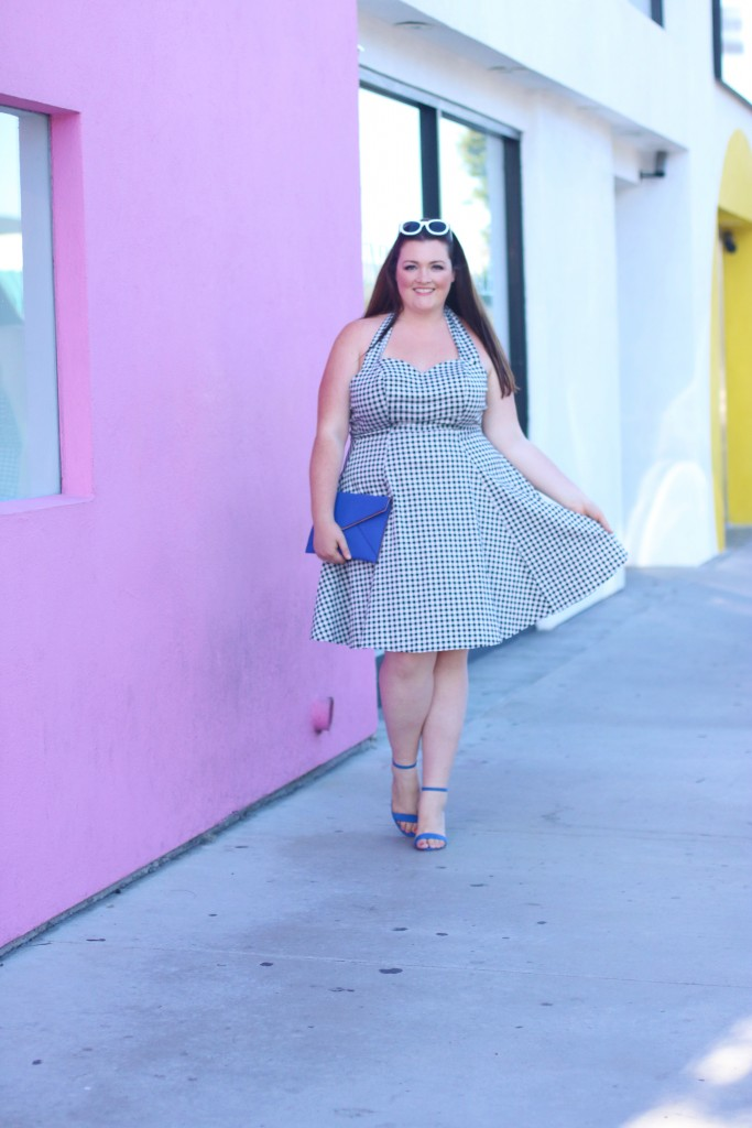 Modcloth Gingham Plus size Dress Collectif Hey Girl! Halter Midi Dress in XXL