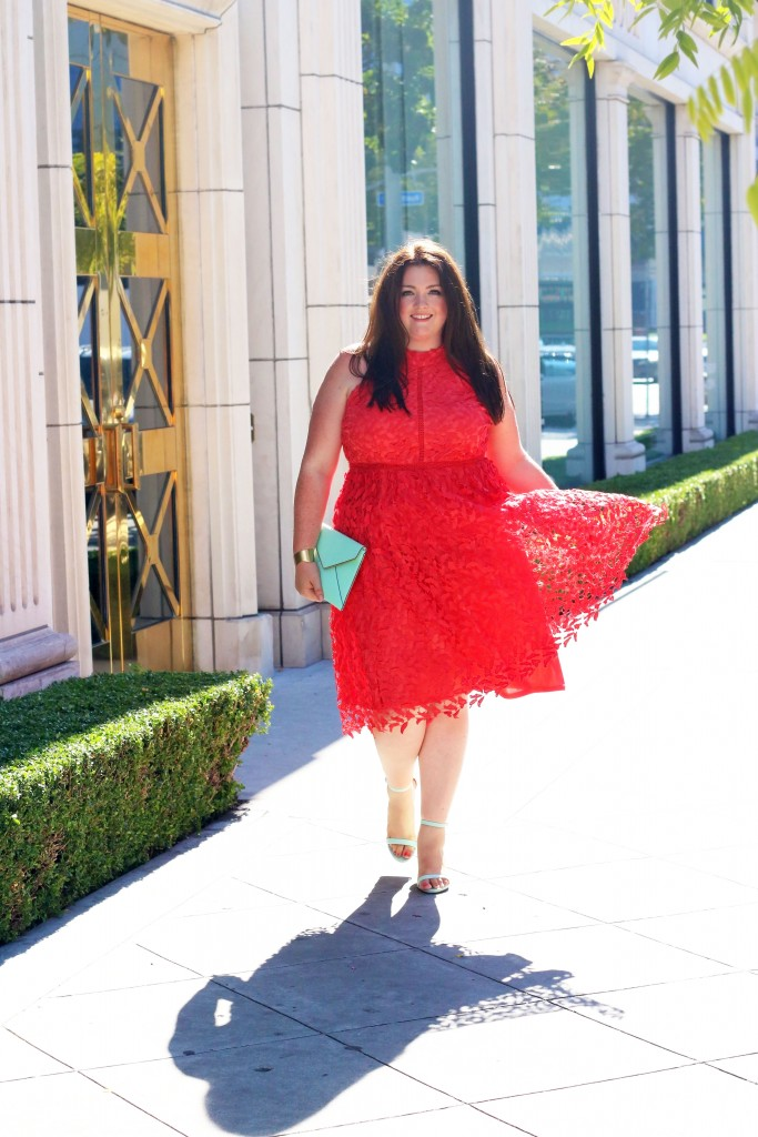 modcloth plus size Defining Divine Midi Dress in Poppy