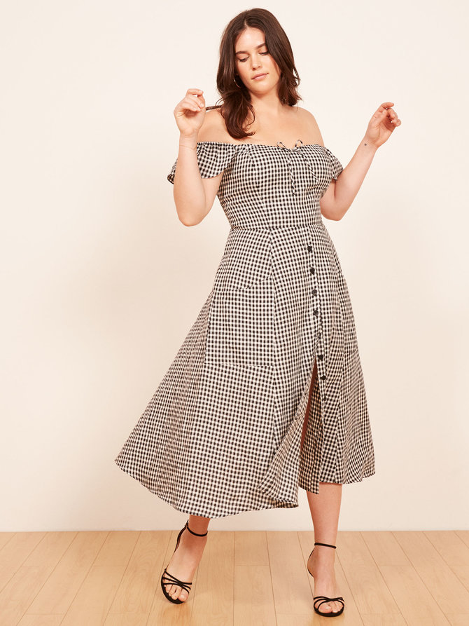 Reformation plus sizes frances dress gingham