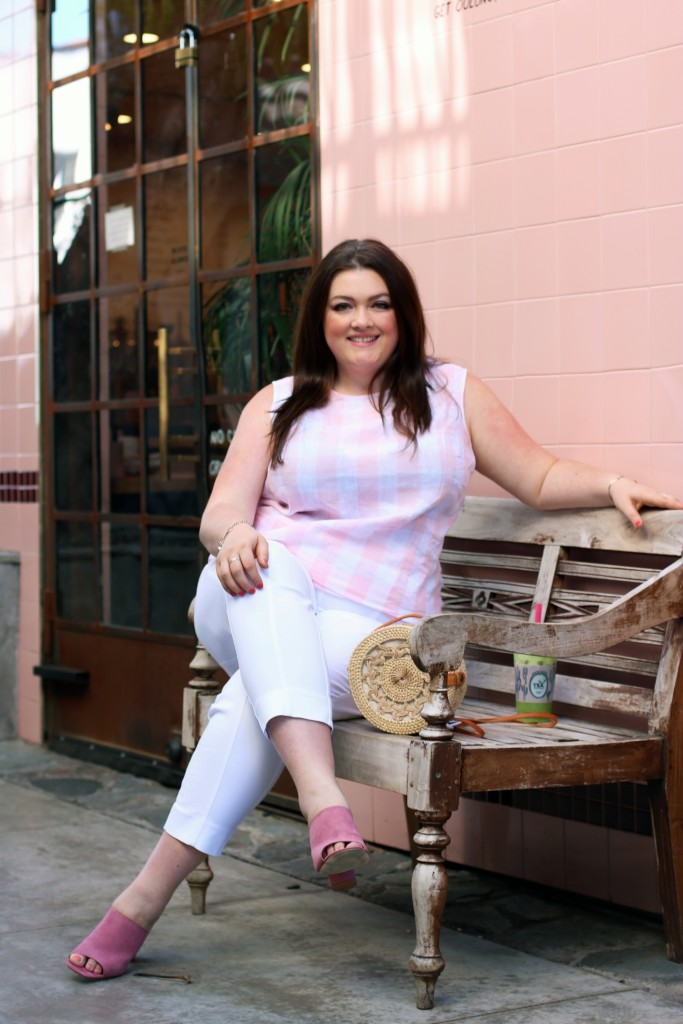alfreds in the alley tea jjill pink gingham top spring plus size style