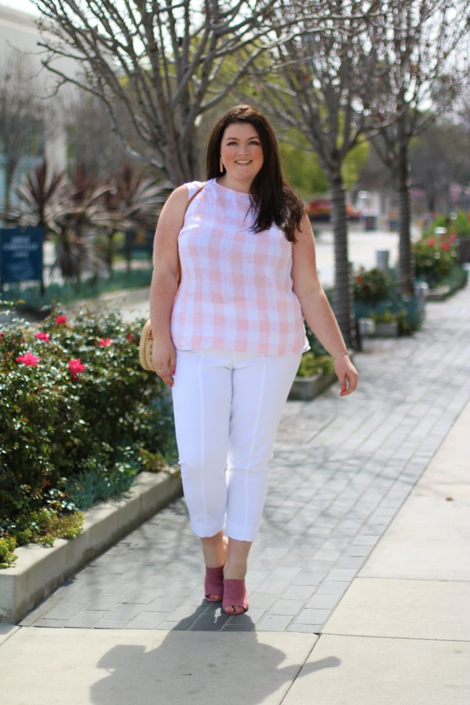 jjill light pink gingham top cropped white pants spring style