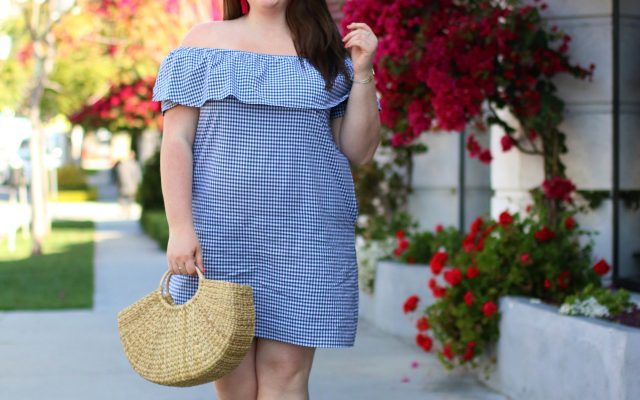 tommy hilfiger gingham off the shoulder dress created for macys plus size