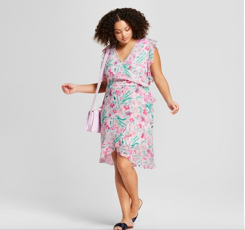 Womens Plus Size Floral Print Dress