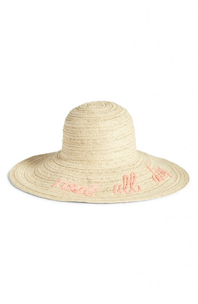 Wordplay Floppy Straw Sun Hat