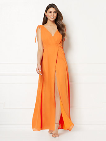eva mendes collection allegra wrap maxi dress