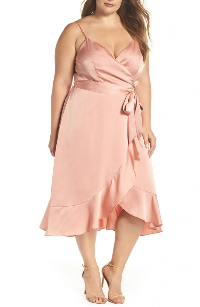 marilyn satin faux wrap dress