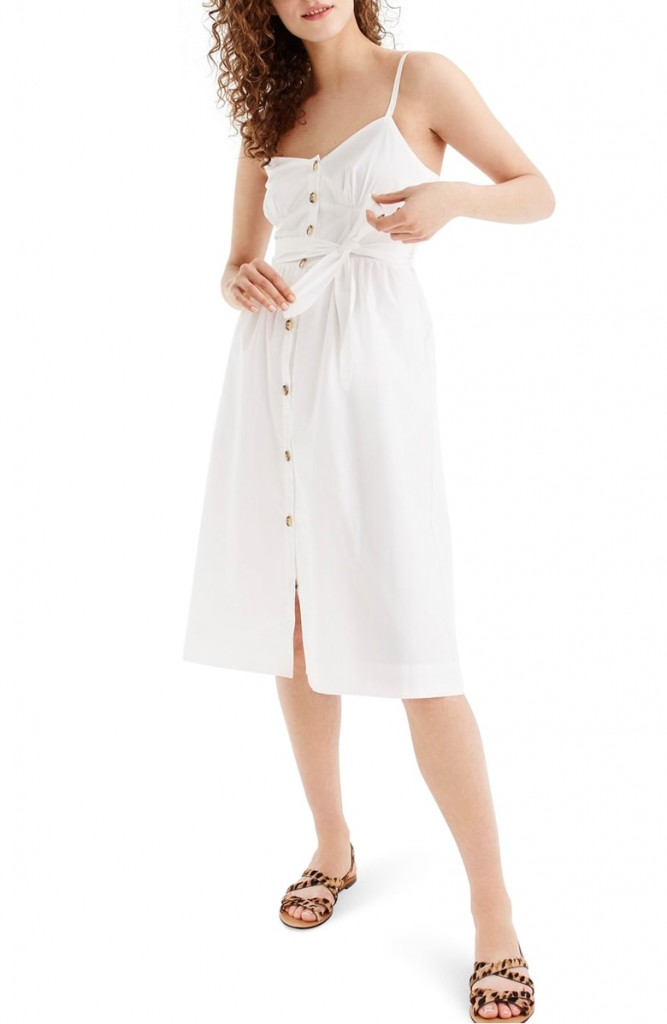 classic button front cotton poplin sundress jcrew extended sizes