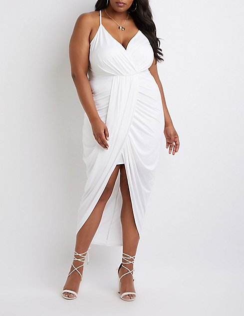 plus size wrap maxi dress white
