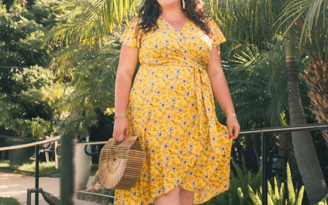 LOFT PLUS SIZE REVIEW GARDEN WRAP DRESS