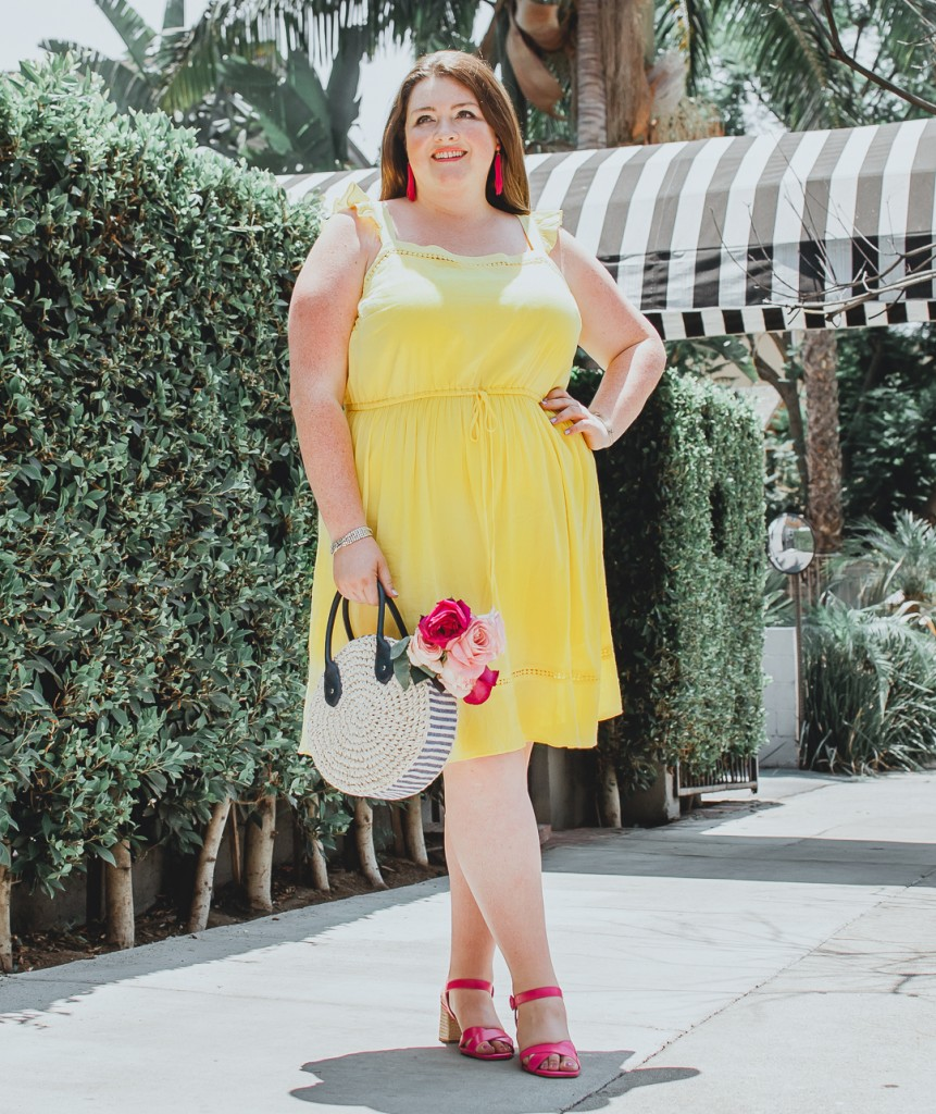 LOFT PLUS YELLOW RUFFLE DRESS