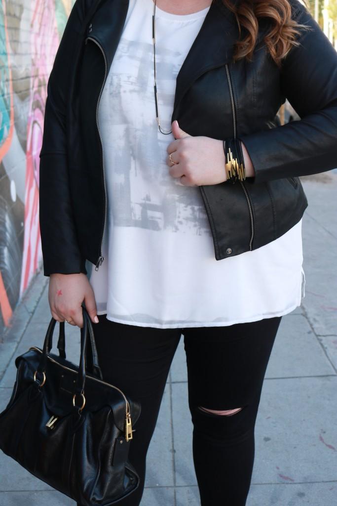 Lovely in LA Black Leather Moto Jacket Plus Size Fashion Downtown Los Angeles