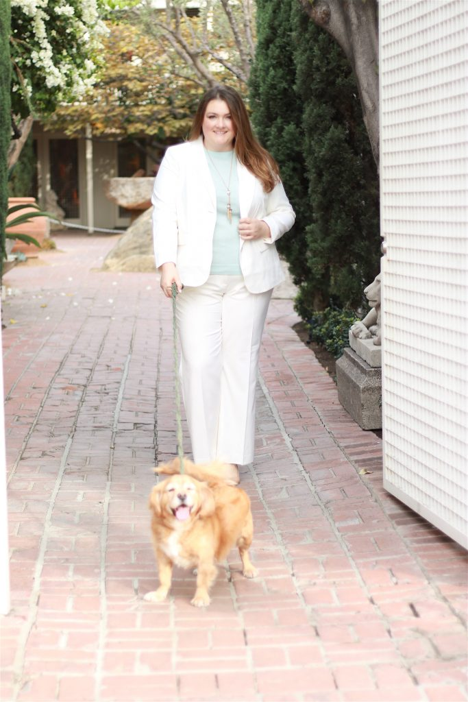 talbots woman cream suit italian flannel blazer cashmere audrey sweater