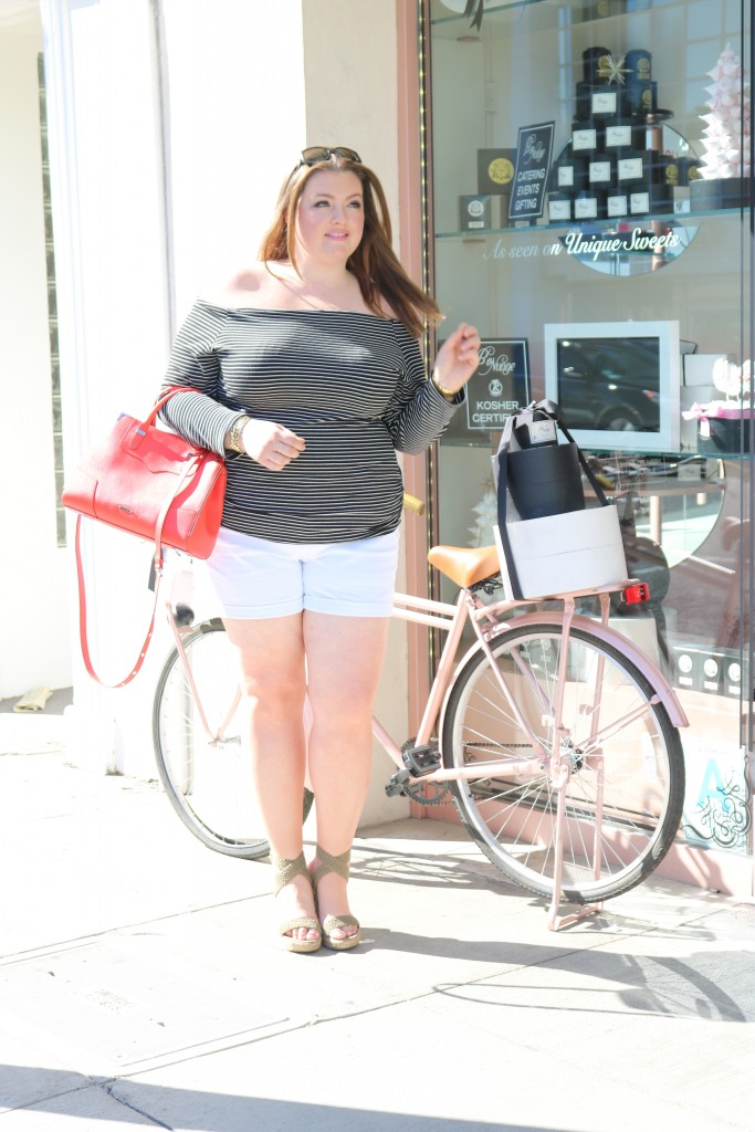 lovely in la off the shoulder top stripes fashion to figure white shorts plus size blogger los angeles beverly hills rebecca minkoff stuart weitzman curvy