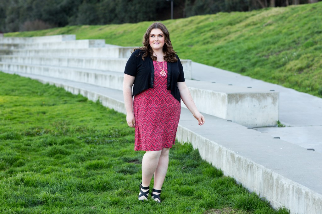 lovely in la catherines style topper dress coral san francisco golden gate bridge plus size blogger los angeles
