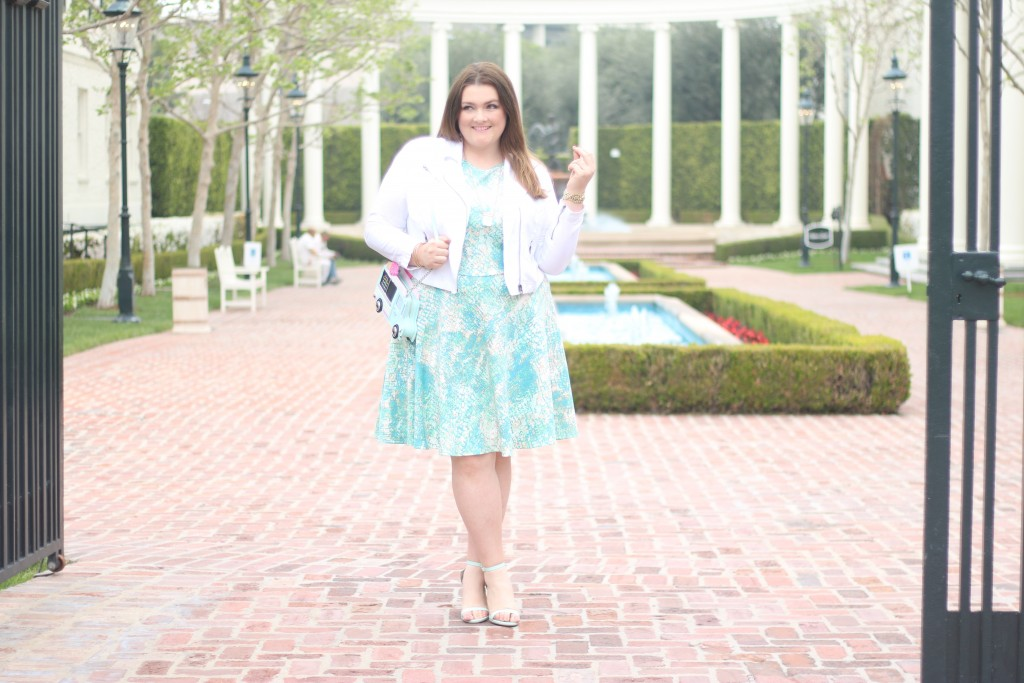 Lovely in LA Kate Spade Flavor of the Month spring time scuba dress fashion to figure turquoise top plus size blogger