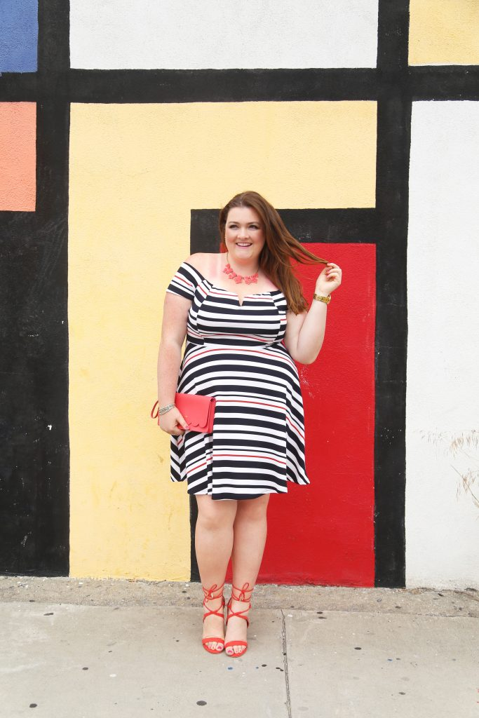 Lovely in LA top plus size blogger los angeles debshops off the shoulder stripes kate spade just fab dress