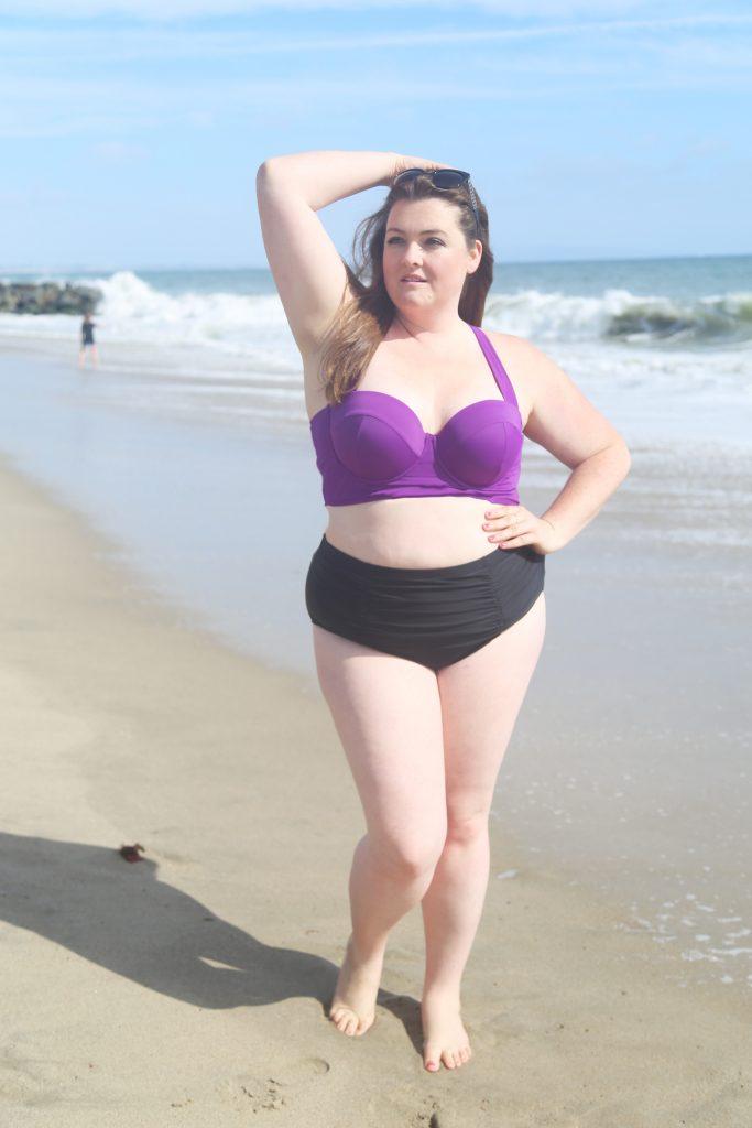 Lovely in LA Top Plus Size Bloggers Torrid halter bikini top two piece purple plus size swimwear