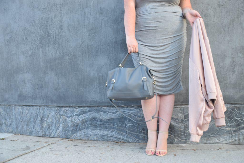 lovely in la ora delphine handbag ruched torrid dress gray los angeles melrose blogger plus size