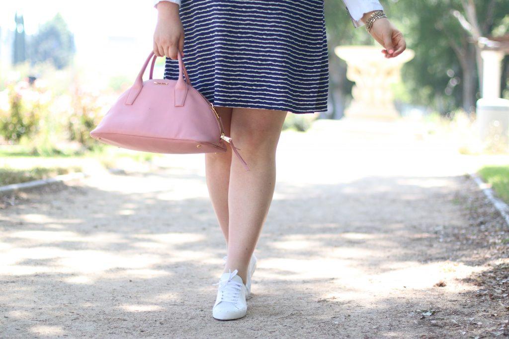 trendy curvy plus size fashion gwynniebee miu miu pink purse rebecca minkoff white tennis shoes