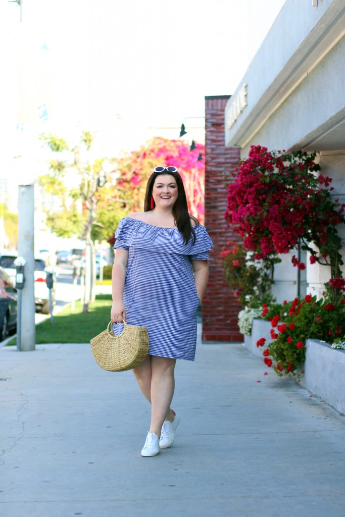 Plus Size Cotton Gingham Off-The-Shoulder Dress, Created for Macy's