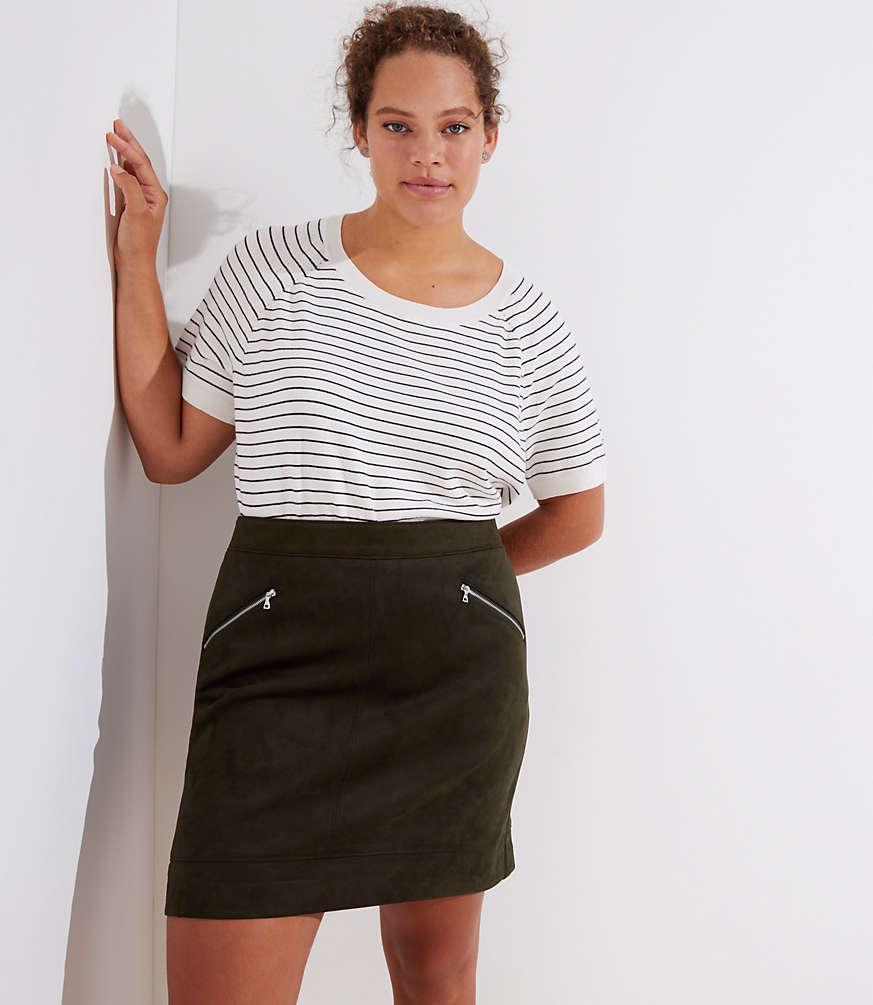 loft plus faux suede zip skirt